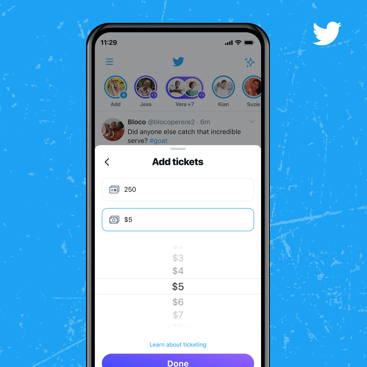 A screenshot of adding tickets in Twitter's Ticketed Spaces feature.