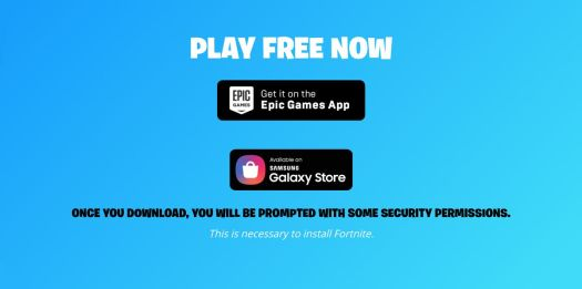 screenshot of Fortnite website with download prompts, as seen on a Samsung Galaxy S10 Android phone