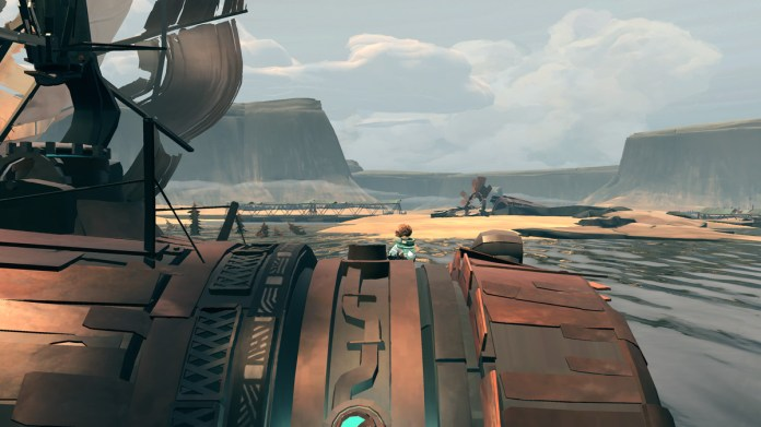 Debris fills the backgroud of a zoomed in view of a barrel-shaped ship.