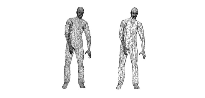 Two images of the polygons involved in the zombie character models in Arizona Sunshine, with a more complex version on the left-hand side. The number of polygons on the head model are very similar in both.