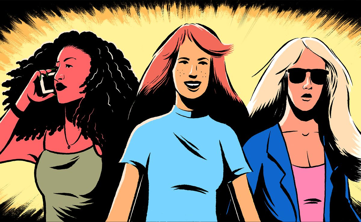 Illustration of a trio of powerful women with expressive lines.