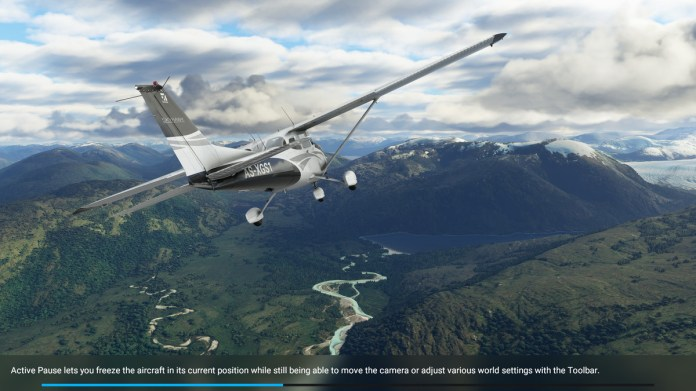 Active Pause info screen in Microsoft Flight Simulator