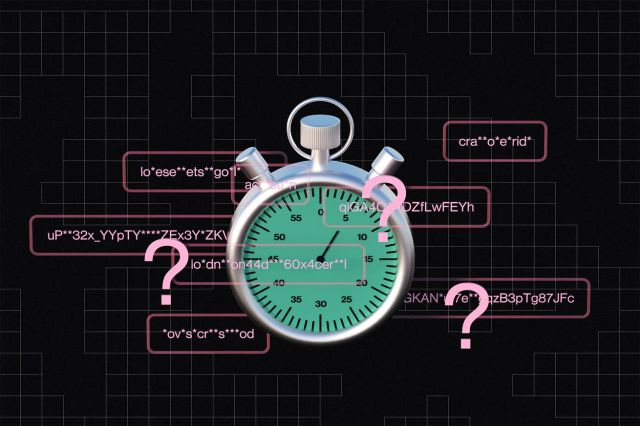 An illustration of several characters representing passwords and several question marks surrounding a giant stopwatch.