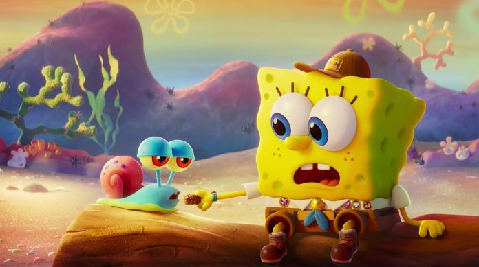 Spongebob meeting Gary the snail for the first time in The Spongebob Movie: Sponge on the Run