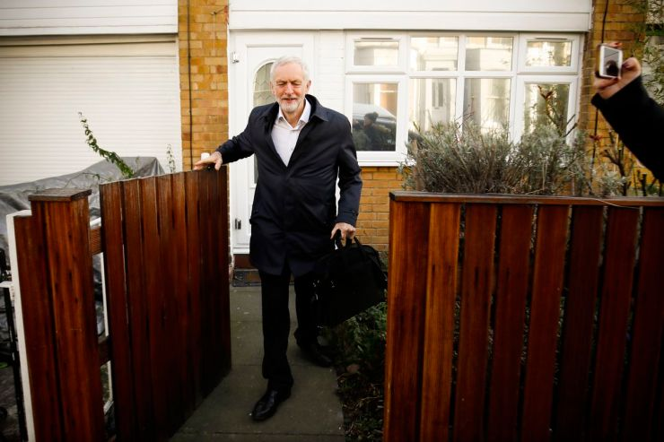 Labour Party leader Jeremy Corbyn leaves his home in London on February 20, 2019.
