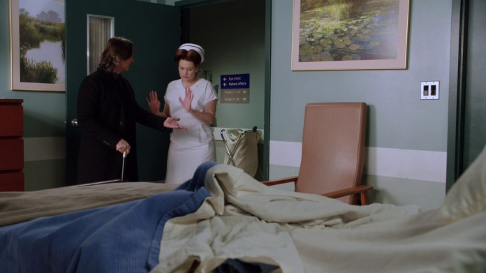 rumplestiltskin being kind of a dick to nurse ratched who's just doing her damn job