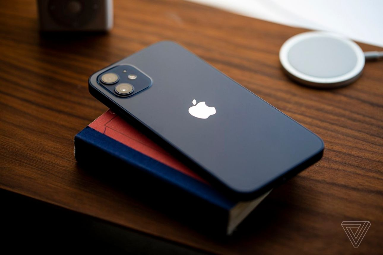 The iPhone 12, in blue.