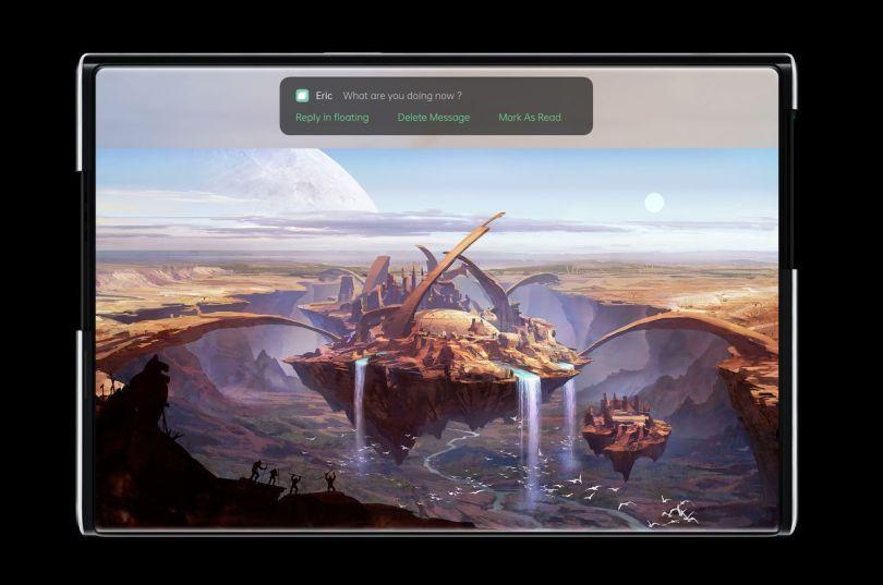 OPPO X 2021rollable concept handset gaming scenario