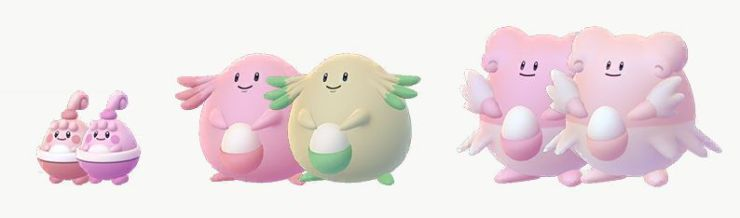 Happyiny, Chansey, and Blissey compared to their Shiny models. Blissey is slightly darker pink, Chansey turns green, and Blissey turns light pink.