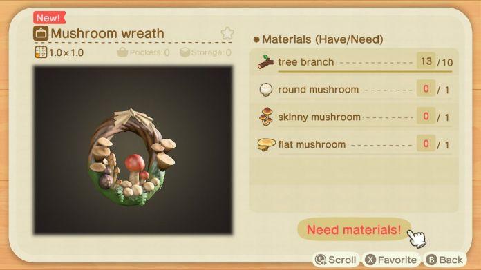 A recipe list for a Mushroom Wreath
