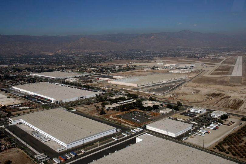San Bernardino, Sept.07, 2007: An aerial view of San Bernardino International Airport which ha