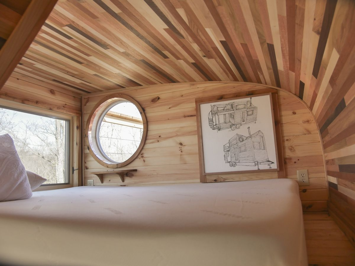 Whimsical Tiny House Is A Masterpiece Of Craftsmanship Curbed   Tiny Home Spiral Staircase   Multi Purpose   Stair   Creative   Bedroom   Rooftop Deck