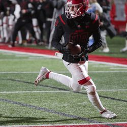 American Fork's Maddox Ray scores a touchdown during a varsity football game against Skyridge at American Fork High School in American Fork on Wednesday, Oct. 13, 2021. Skyridge won 42-22.