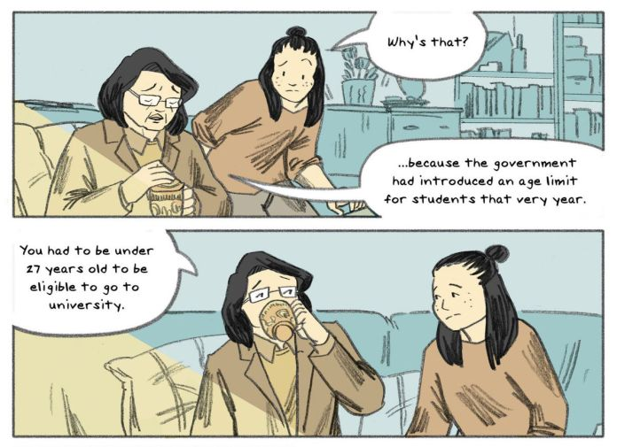 """Emei Burell asks her mother why she couldn't go to college. """"Because the government had introduced an age limit for students that very year,"""" she answers, sipping tea, """"You had to be under 27 years old to be eligible to go to university,"""" in We Served the People, Boom Studios (2020)."""
