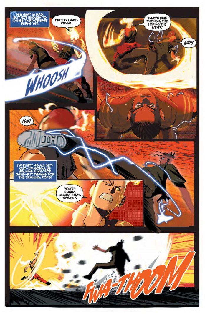 Virgil and Hot Streak exchange blows in Static: Season One #1.
