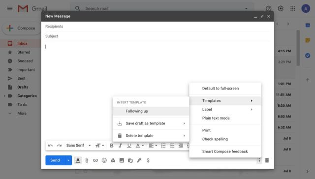 Template options in compose