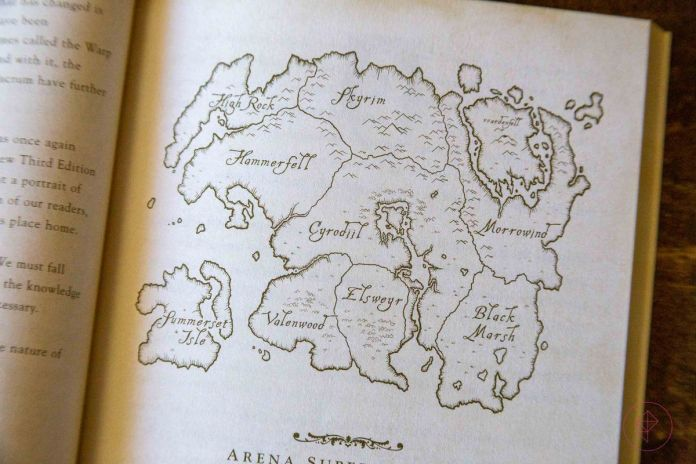 An image of a map of Tamriel from A Pocket Guide To The Empire, published with TES 4: Oblivion's Collector's Edition.