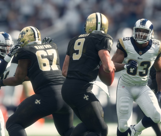Madden Nfl 18 Drew Brees And The New Orleans Saints Versus The Los Angeles Rams