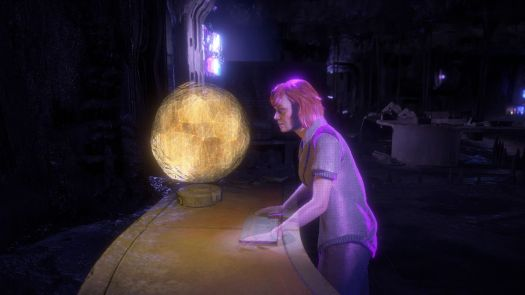 a red-haired woman talks to a hologram of a yellow ball, the representation of Gaia, the Project: Zero Dawn master AI, in Horizon Zero Dawn