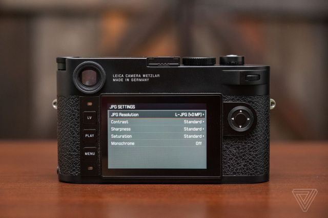 The back LCD screen of the Leica M10-R display its 40 megapixel resolution option