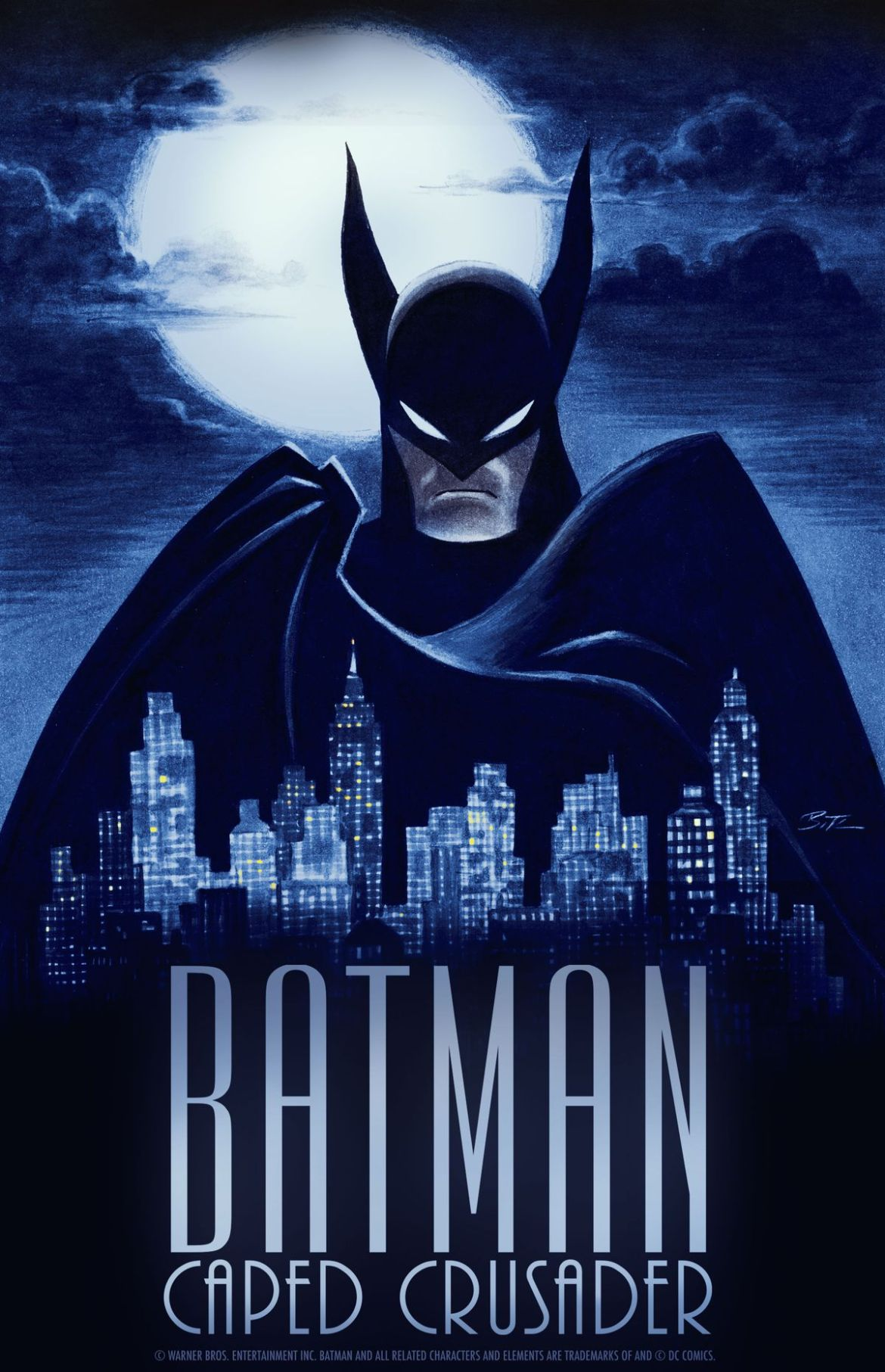 artwork for Batman: Caped Crusader, with a Batman with very tall, pointy ears looming over Gotham City at night with a giant moon behind him