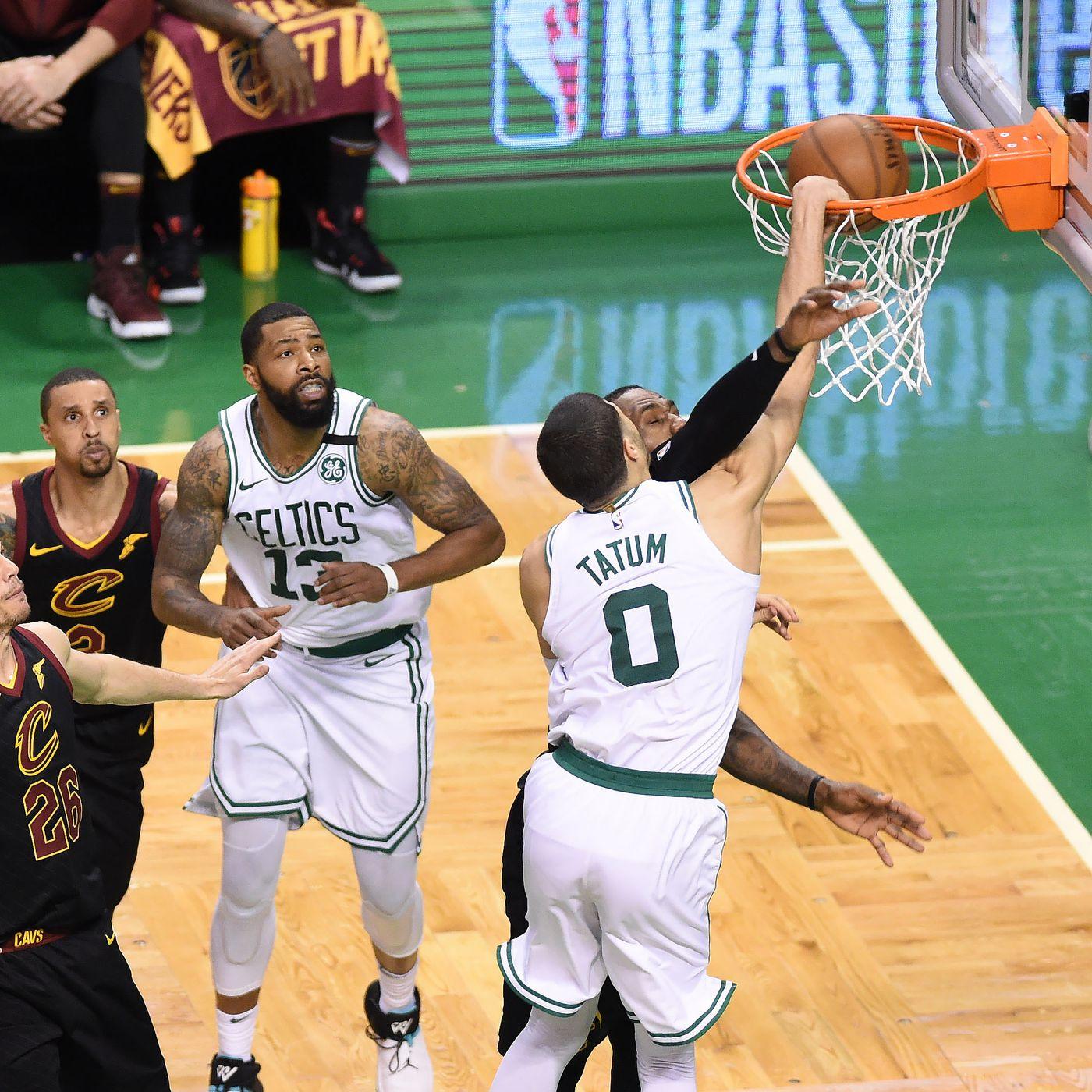 https www celticsblog com 2018 5 28 17398368 the dunk jayson tatum lebron james game 7 boston celtics cleveland cavaliers nba playoffs