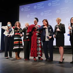 Award recipients pose for photos at the conclusion of the Women Tech at Thanksgiving Point in Lehi on Wednesday, Oct. 28, 2020. The awards recognized the women and innovations spurring economic growth, driving innovation and fighting COVID-19.