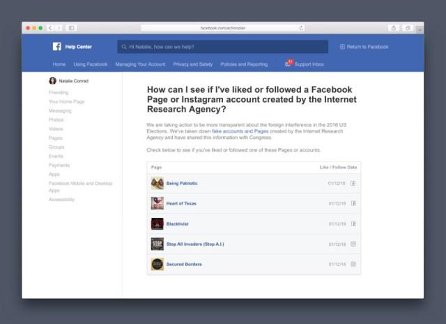 Facebook Russian Page Portal