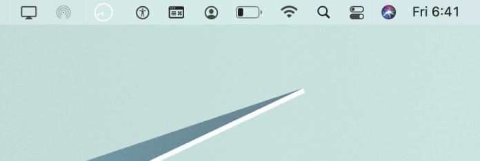A screenshot of the menu bar in macOS Big Sur with a light desktop background.