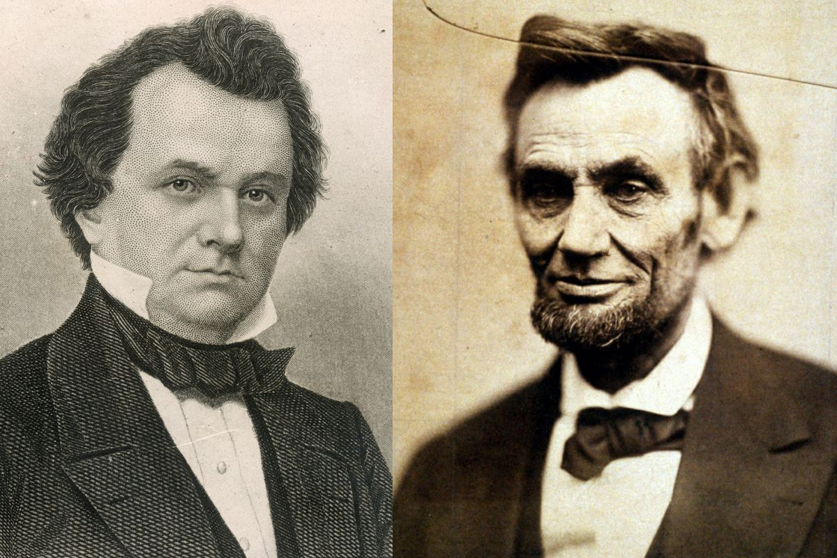 Stephen Douglas, left; Abraham Lincoln, right, in Julia Ward Howe's 1861 portrait.