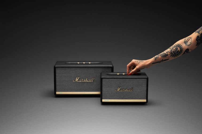 <em>Marshall Headphone's new Stanmore II Voice (left) and Acton II Voice (right) speakers.</em>