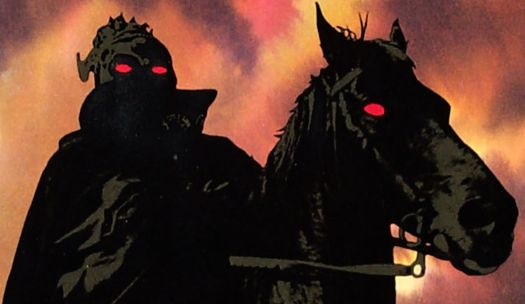 A rotoscoped image of a red-eyed man in silhouette riding a red-eyed horse in Ralph Bakshi's Lord of the Rings