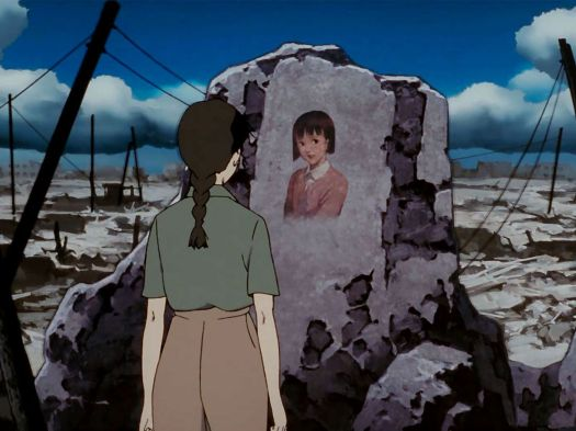 Chiyokostares at a portrait of her younger self among the ruins of a devastated city