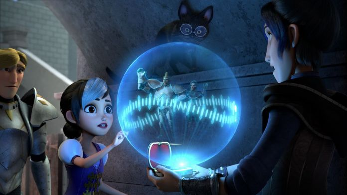 Claire and Douxie hold a ball of blue light