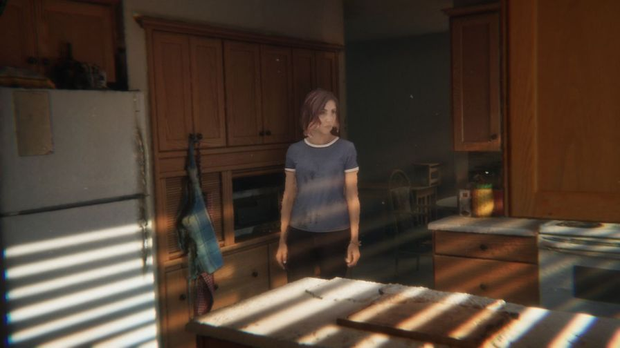 A rough shot from one of the volumetric sequences in Demonic, where an actor enters a dramatically lit kitchen