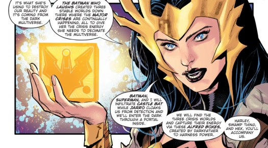 """Wonder Woman explains the new plan to defeat the bad guys and holds up a bat-emblazoned mother box as she reveals that it's called an """"Alfred box,"""" in Dark Nights: Death Metal Trinity Crisis, DC Comics (2020)."""