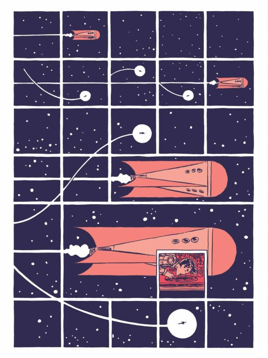 A strange human figure zips through space, following an orange rocketship, on a 5x7 grid of panels in Hedra, Image Comics (2020).