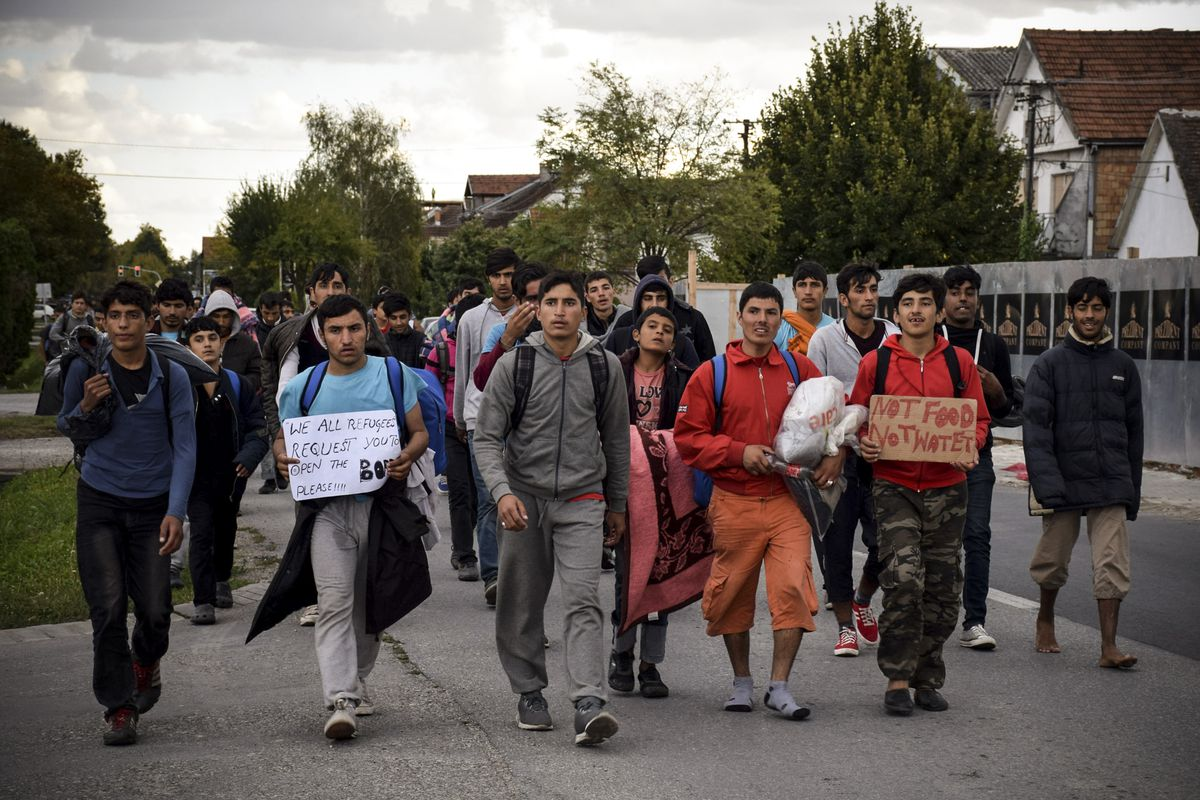 Migrants on their way to Hungary from Serbia in 2016.