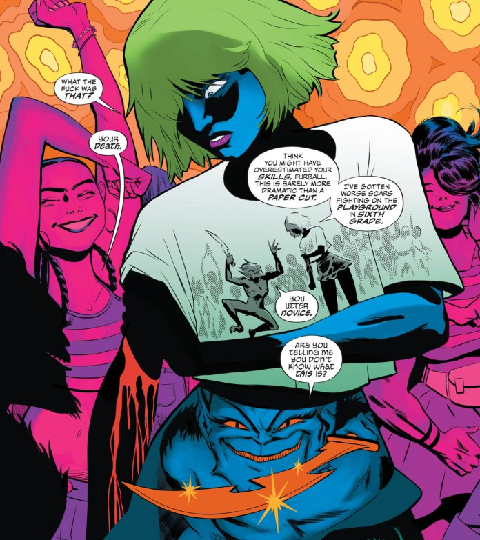 Puck explains that he cut Heather's arm with a vorpal dagger, a wound that will bleed until she dies, over a series of panels made from the background, her shirt, and skirt in The Dreaming: Waking Hours #6, DC Comics (2021).