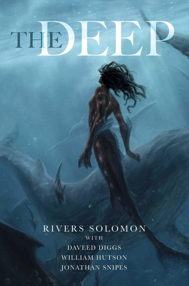 the deep cover with a merman swimming to the surface past a whale