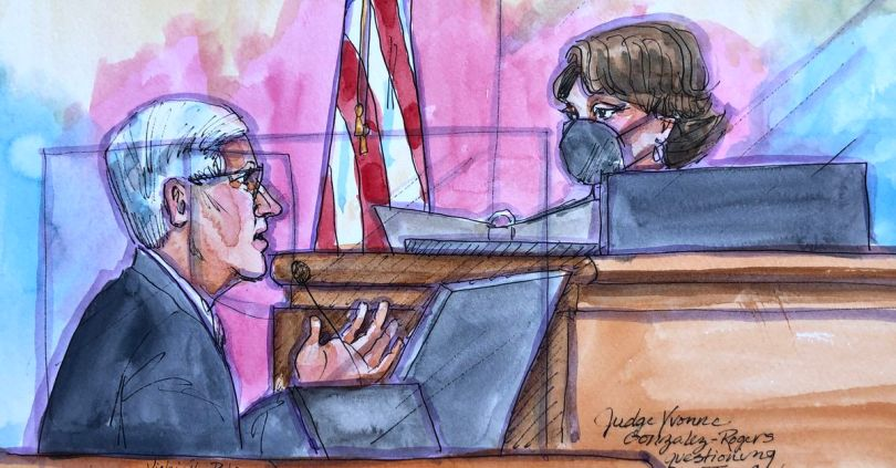 A courtroom artist's view of the Epic v. Apple trial