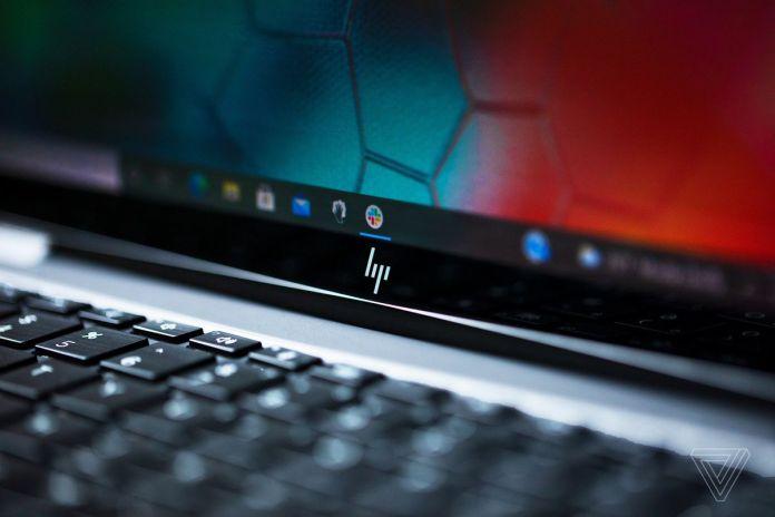 The HP logo on the HP Elite Dragonfly Max bottom bezel.