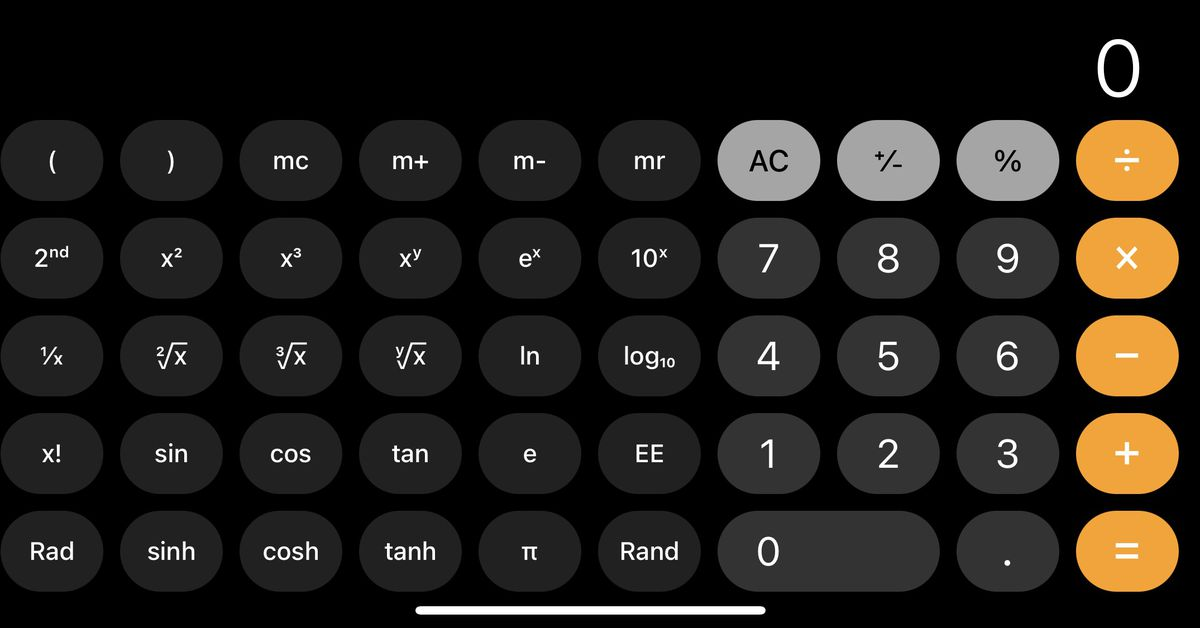 Apparently the iOS calculator has had a scientific mode since 2008