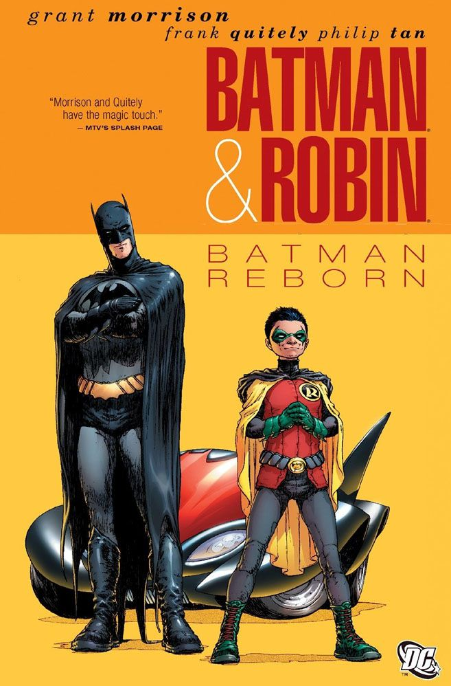 Batman (Dick Grayson) and Robin (Damian Wayne) stand read in front of a red Batmobile on the cover of Batman & Robin #1, by Grant Morrison and Frank Quietly, DC Comics (2009)