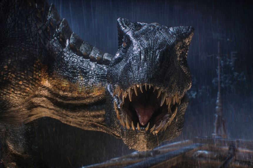 "<em>The ""Indoraptor,"" a new dinosaur hybrid in</em> Jurassic World: Fallen Kingdom<em>.</em>"