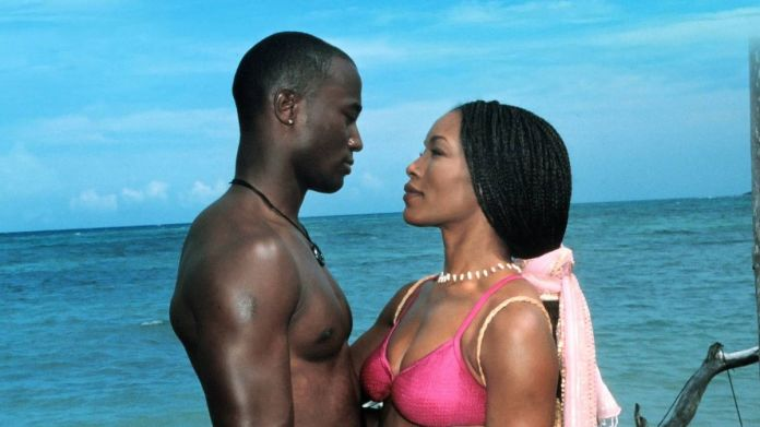Taye Diggs and Angela Bassett stare into each others' eyes