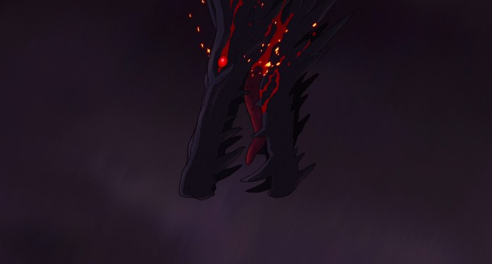 The head of a black dragon, eyes and mouth dripping red fluid, descends from a stormy sky in Studio Ghibli's Tales from Earthsea