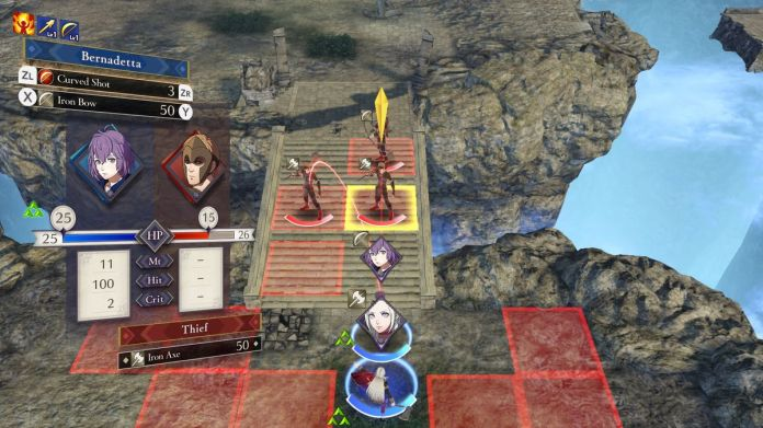 Bernadetta aims a curved arrow shot at an enemy in Fire Emblem: Three Houses