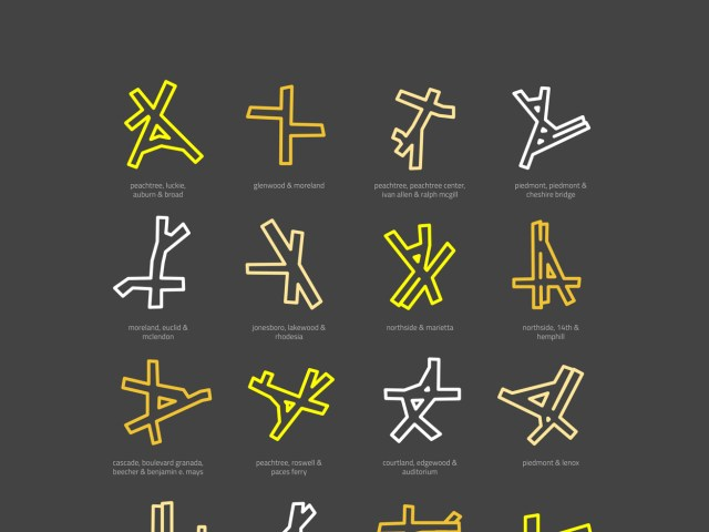 An image showing various Atlanta intersections in simple colors of yellow, white, and more is shown with a black backdrop.