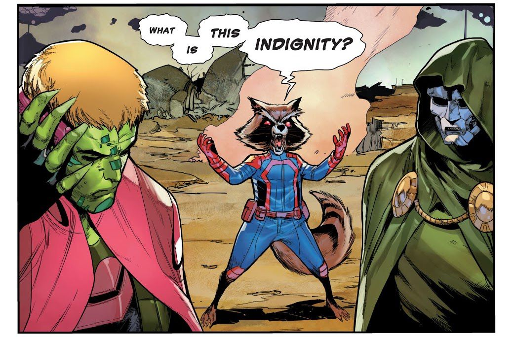 """""""What is this indignity?"""" roars Doctor Doom, in the body of Rocket Raccoon, in Guardians of the Galaxy #14, Marvel Comics (2021)."""